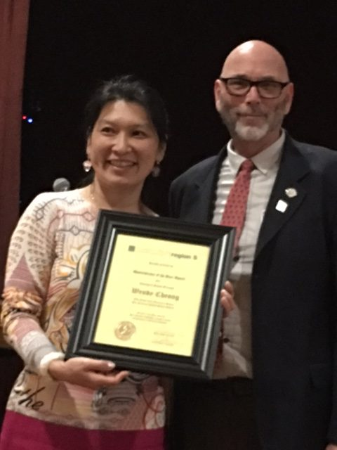 Wendy Cheung, SFUSD, Elementary Principal of the Year, presented by Pater VanCourt, Past President.